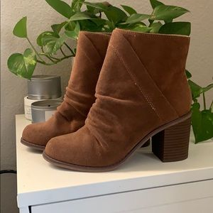 Brown suede heel booties